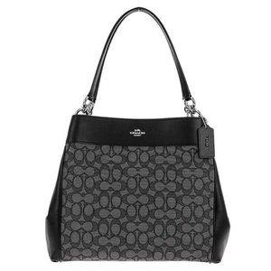 NWT COACH Large Signature Shoulder Bag Blk F27579